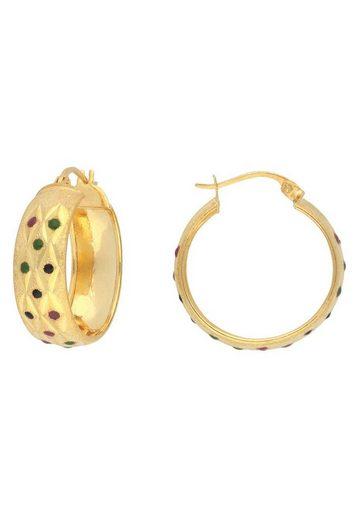 Firetti Paar Creolen »Glanz, satiniert, diamantiert, vergoldet« mit Emaille