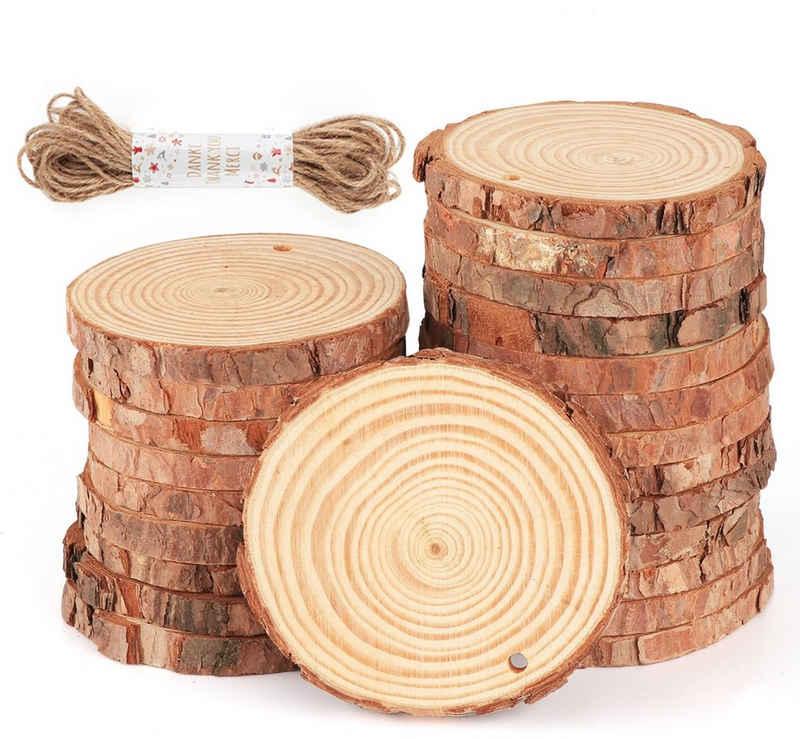Homewit Bastelnaturmaterial »30 Stück Holzscheiben Baumscheiben Astscheiben 8-9 cm rund«, (Packung 30-tlg), für DIY Handwerk Holz-Scheiben Hochzeit Mittelstücke Weihnachten Dekoration
