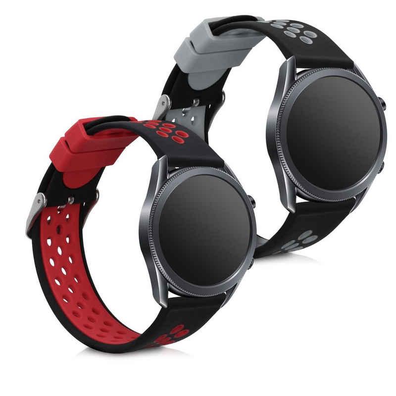 kwmobile Uhrenarmband, 2x Sportarmband kompatibel mit Samsung Galaxy Watch 3 (45mm) - Armband TPU Silikon Set Fitnesstracker