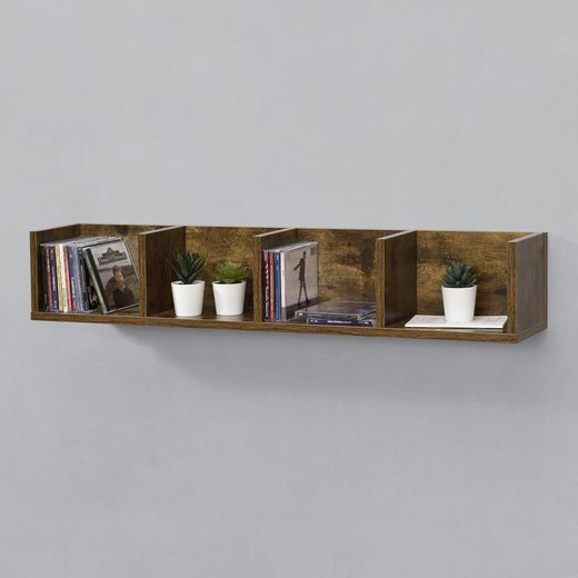 en.casa Wandregal, Hängeregal, »Ekerö« Bücherregal Schweberegal Wandboard 95x17x16,5cm CD Regal mit 4 Ablagefächern Holzfarben