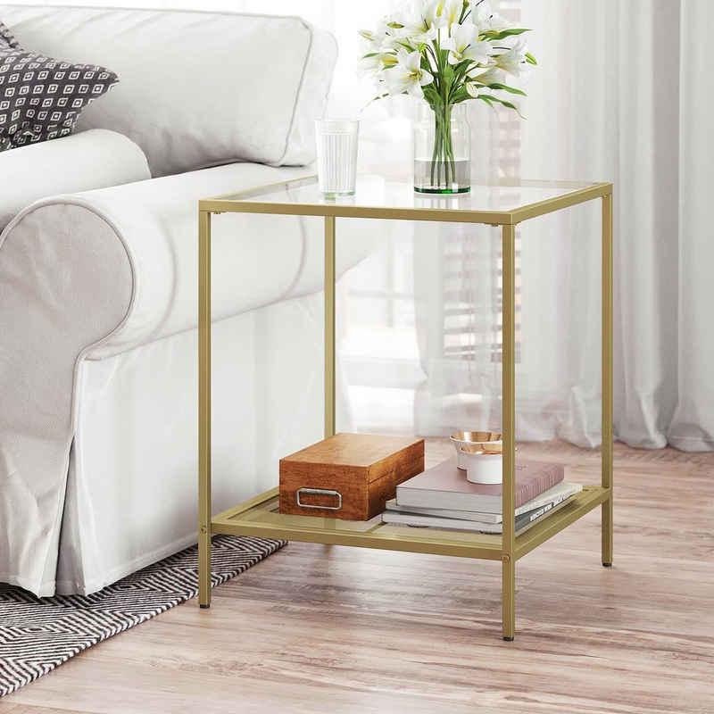 VASAGLE Beistelltisch »LGT030W01 LGT030A01«, Couchtisch mit 2 Ebenen, aus Hartglas, Gold-Transparent