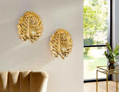 Leonique Wandkerzenhalter »Leaf« (2er-Set), Kerzen-Wandleuchter, Kerzenhalter, Kerzenleuchter hängend, Wanddeko, Blattform, mit Teelichthalter