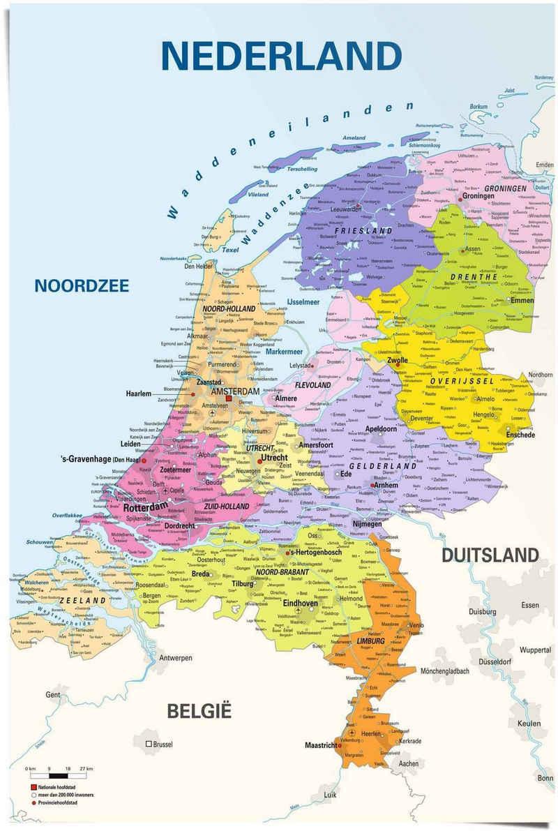 Reinders! Poster »Poster Schulkarte Niederlande Niederländisch - Niederländischer Text«, Landkarten (1 Stück)