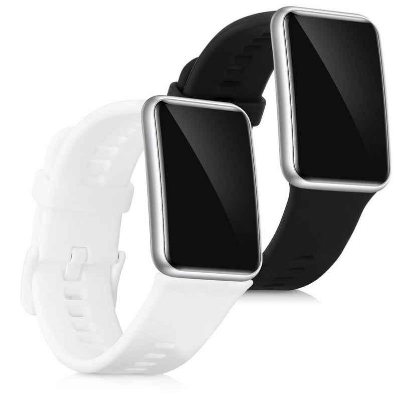 kwmobile Uhrenarmband, 2x Sportarmband kompatibel mit Huawei Watch Fit - Armband TPU Silikon Set Fitnesstracker