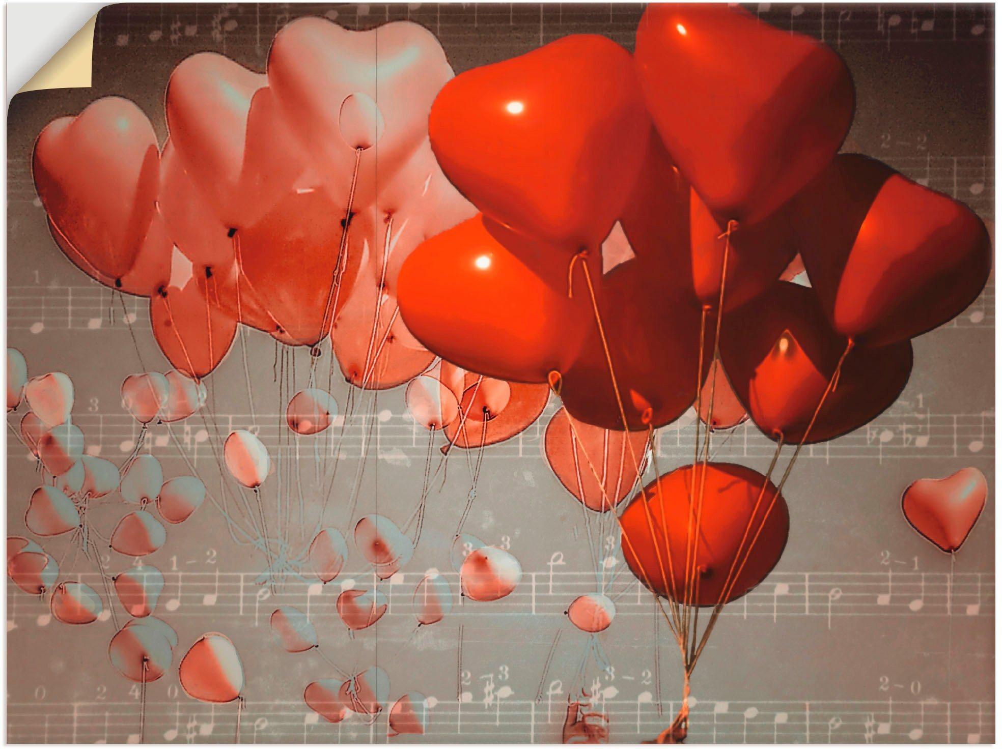 Wandbild »Rote Herzen«, Herzen (1 Stück)