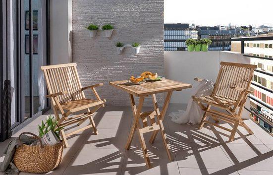 Junado® Balkonset »Sunset«, Gartenset Teak mit Klapptisch
