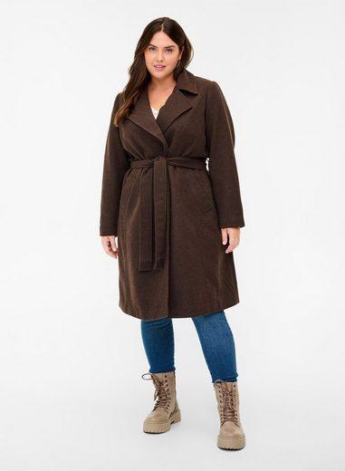 Zizzi Langjacke Große Größen Damen Jacke mit Kragen, Gürtel und Knöpfen