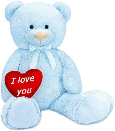 BRUBAKER Kuscheltier »XXL Teddybär 100 cm groß mit I Love You Herz« (1-St), Stofftier Plüschtier