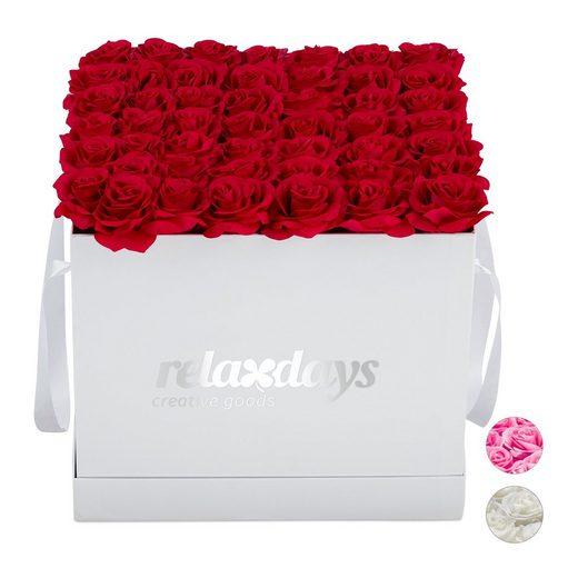 Gestecke »Rosenbox eckig weiß 49 Rosen«, relaxdays, Höhe 28.5 cm