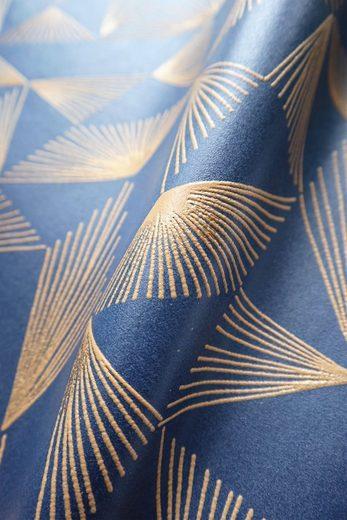 Newroom Vliestapete, Blau Tapete Grafisch - Mustertapete Grafiktapete Gold Geometrisch Linien Grafisch für Wohnzimmer Schlafzimmer Küche