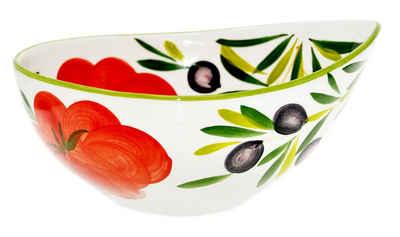 Lashuma Schüssel »Tomate Olive«, Keramik, Servierschale mit Schnabel, Runde Salatschüssel