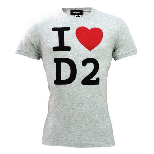 Dsquared2 T-Shirt »I love D2« Grau mit Print