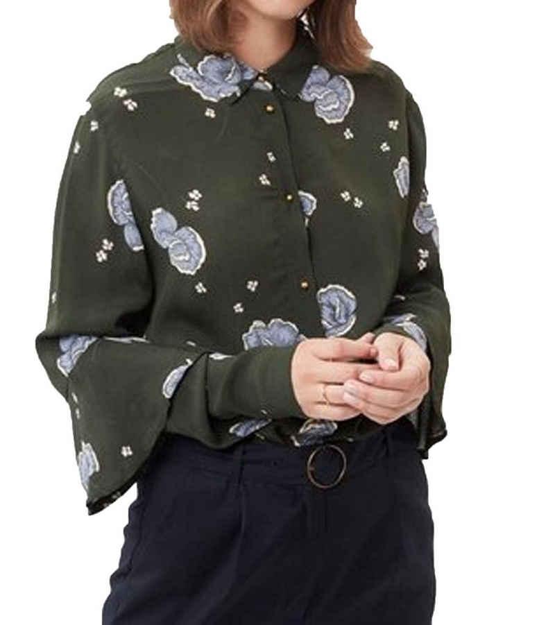 minimum Blusentop »minimum Herbst-Bluse geblümte Damen Kent Kragen-Bluse mit durchgehender Knopfleiste Freizeit-Bluse Grün«