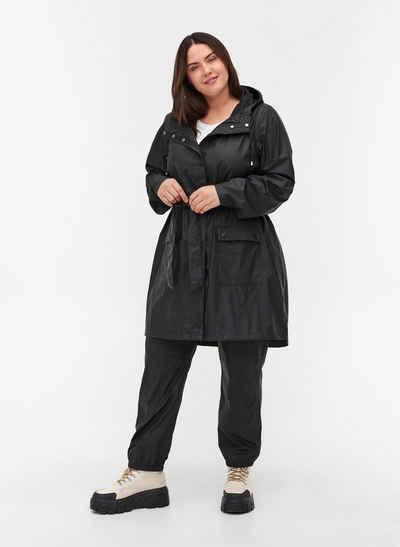 Zizzi Regenjacke Große Größen Damen Regenjacke mit Gürtel, Kapuze, Taschen und Knöpfen