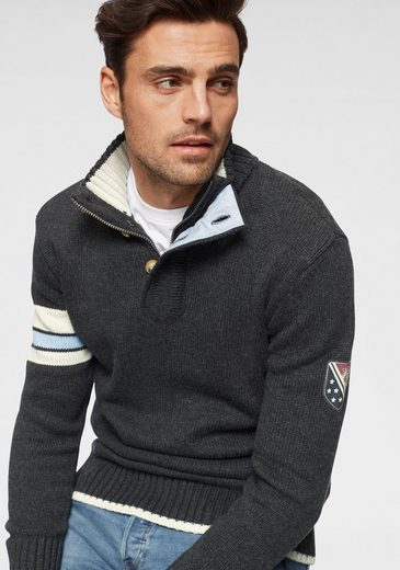 TOM TAILOR Polo Team Stehkragenpullover mit Kontrastdetail am Ärmel