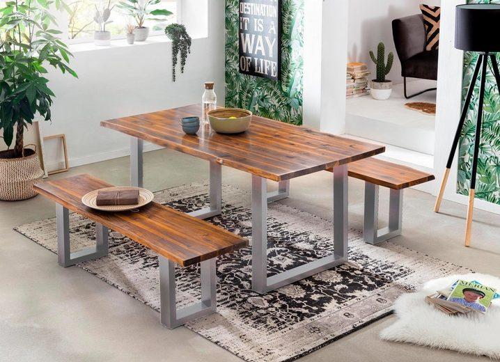 SIT Esstisch »Tops&Tables« mit Tischplatte aus Akazie mit Baumkante, Gestell silberfarbig