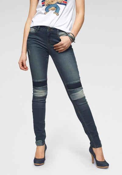 f56b47afc3016a Arizona Slim-fit-Jeans »im Patchwork-Look« Mid Waist