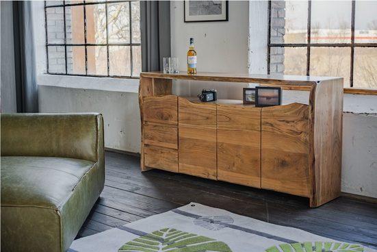 Kasper-Wohndesign Sideboard groß Akazie Massiv-Holz Baumkante »Loft Edge«
