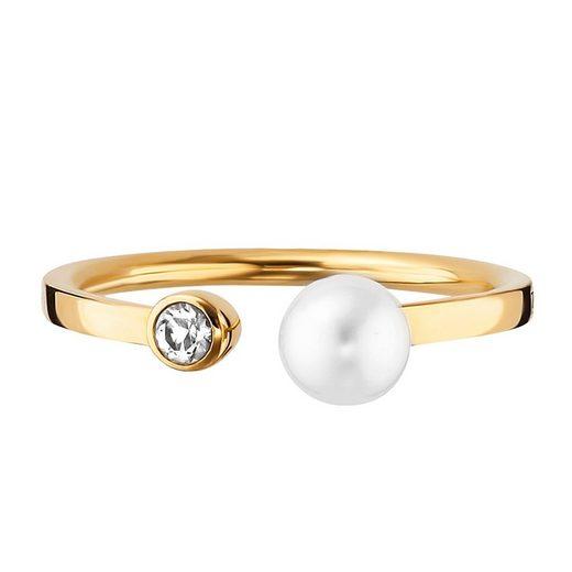 CAÏ Ring »925/- Sterling Silber vergoldet Perle Topas«