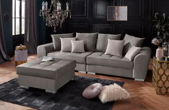 Leonique Big-Sofa »Vigo«, inklusive vieler Kissen, Bettfunktion und Bettkasten, mit Steppung im Sitzbereich