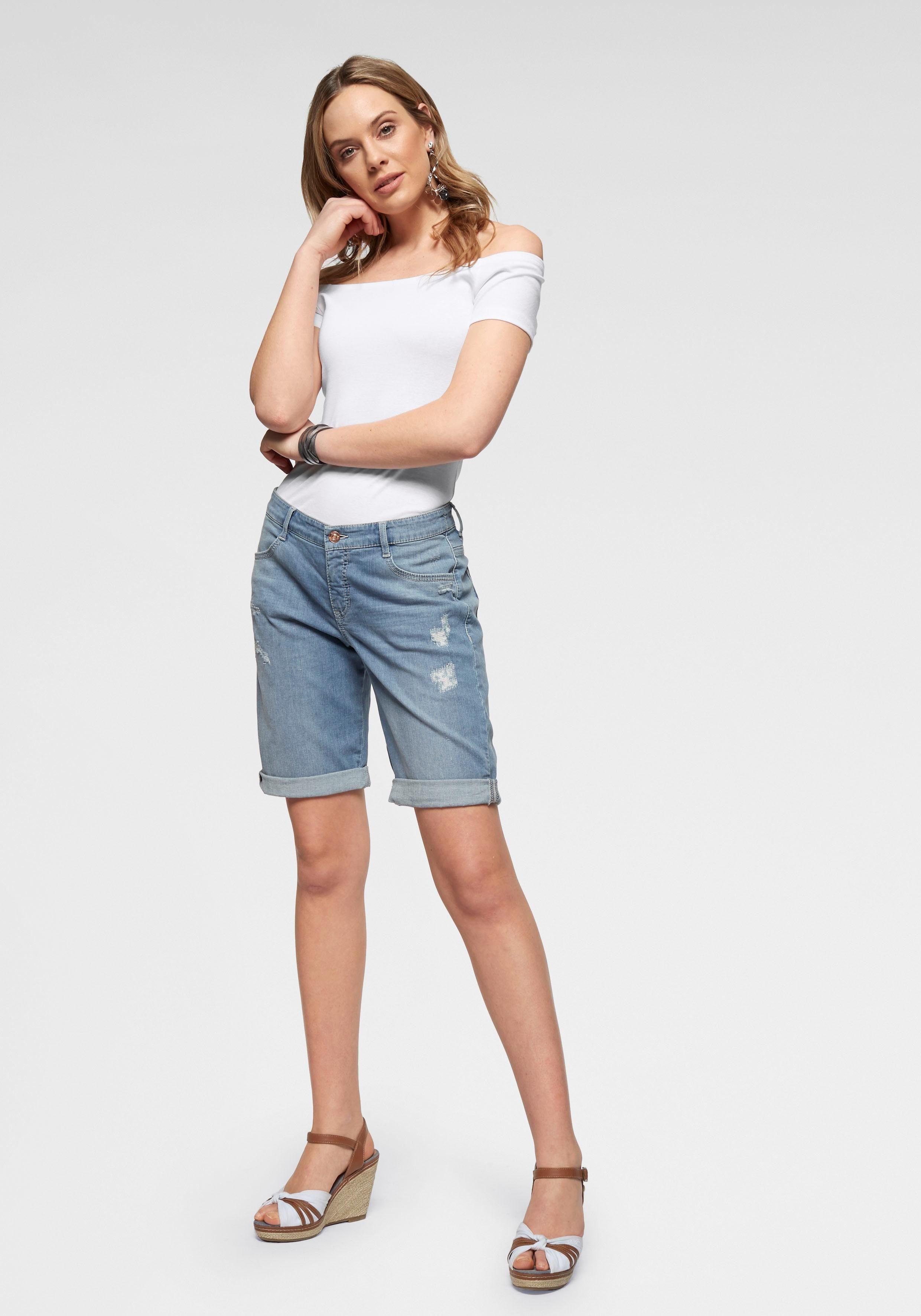 Mac Online Summer Kaufen Saum Shorts Krempelbarem Mit Clean« Jeansbermudas »shorty DH9WIY2E