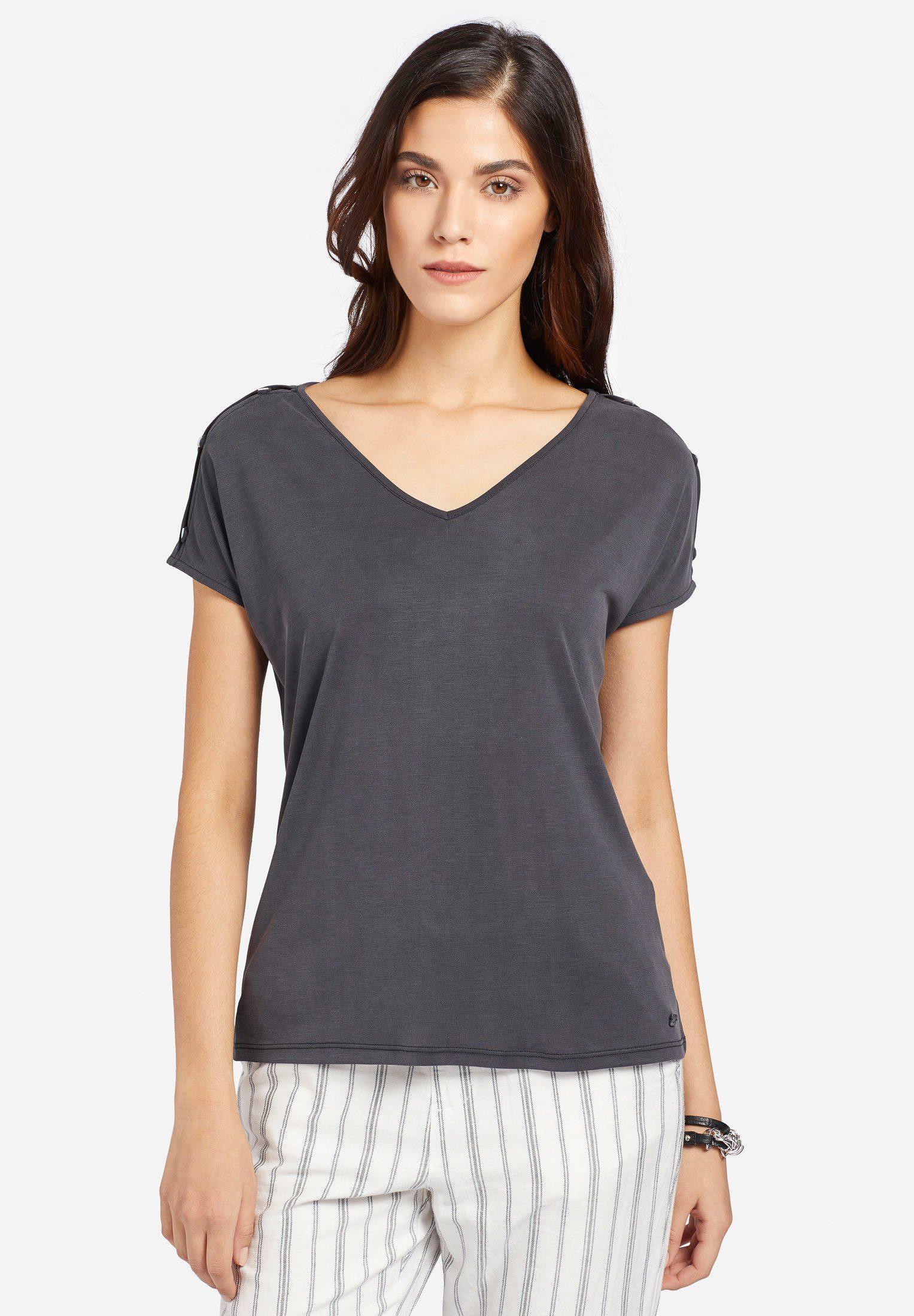 khujo T-Shirt »ESSAU« mit kurzen Ärmeln inklusive Schlitzen und Knöpfen