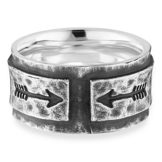 CAÏ Fingerring »925/- Sterling Silber rhodiniert matt Pfeile«, Ring