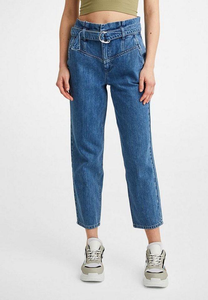 OXXO Straight-Jeans mit hoher Taille und Gürtel