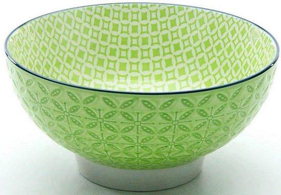 CreaTable Müslischale »Mediterran«, Steinzeug, (Set, 4-tlg), Ø 15 cm, Steinzeug, Farbe grün