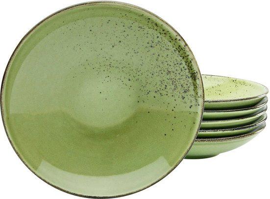 CreaTable Suppenteller »Nature Collection«, (6 Stück), Ø 22 cm, Steinzeug