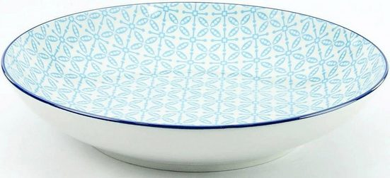 CreaTable Suppenteller »Mediterran«, (4 Stück), Ø 21 cm, Steinzeug, Farbe blau