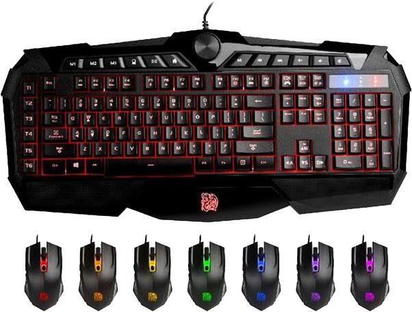 TT Esports »Challenger Prime RGB Combo« Tastatur (USB-Anschluss, Ziffernblock, Multimedia-Tasten, inkl. Maus)