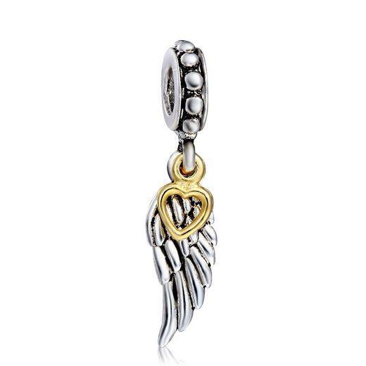 Schmuck-Elfe Bead »Engelsflügel Herzens-Engel« 925 Silber teilvergoldet