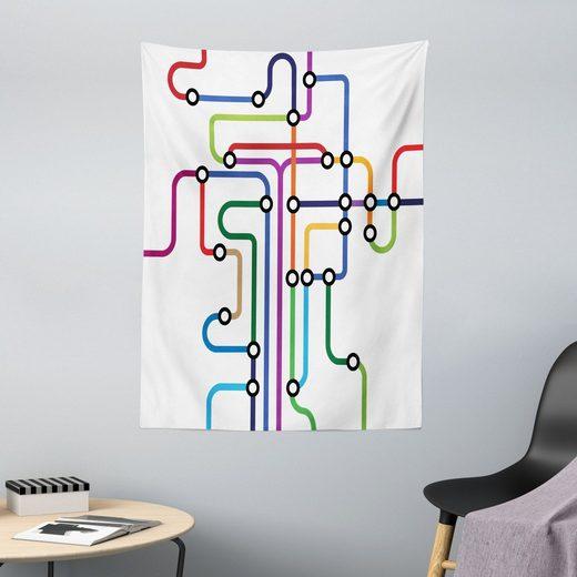 Wandteppich »aus Weiches Mikrofaser Stoff Für das Wohn und Schlafzimmer«, Abakuhaus, rechteckig, Karte Abstrakte Bunte U-Bahn