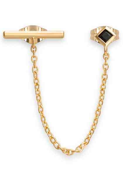 ROSEFIELD Single-Ohrstecker »Iggy double trouble black stone earring gold, JDTBG-J060« mit Zirkonia