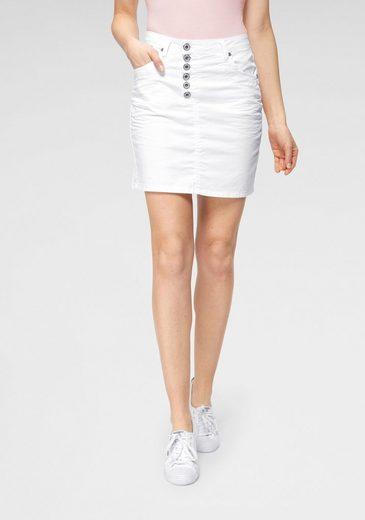 Please Jeans Minirock »G713« stylischer Jeans-Mini-Rock mit Knopfleiste & leichter Crinkle-Optik