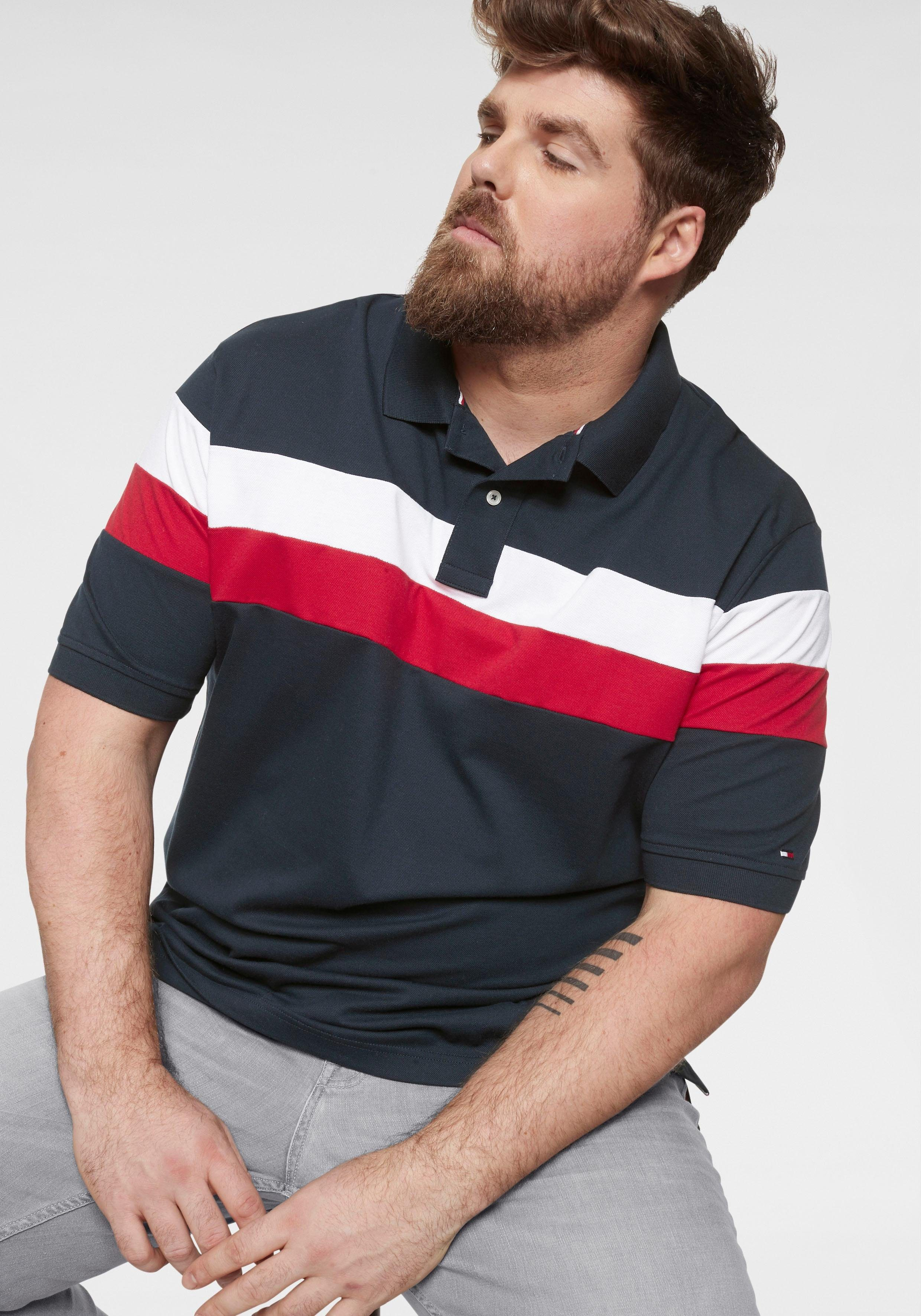 TOMMY HILFIGER Poloshirt »BIG & TALL CHEST STRIPE POLO-B«