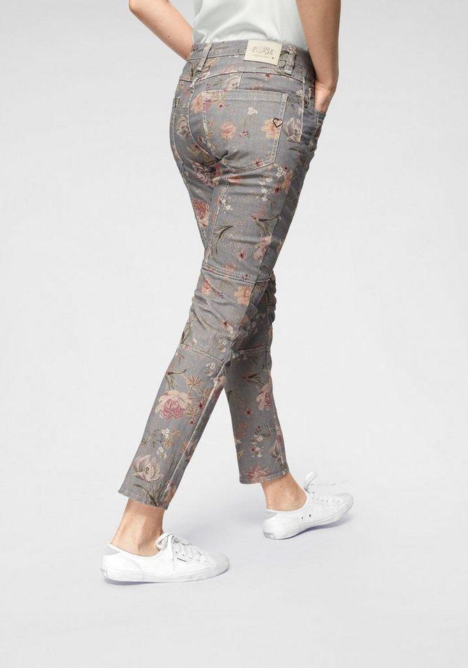Please Jeans Röhrenjeans »P78B« Normal Waist mit Allover Blumen-Druck   Bekleidung > Jeans > Röhrenjeans   Grau   Jeans   Please Jeans