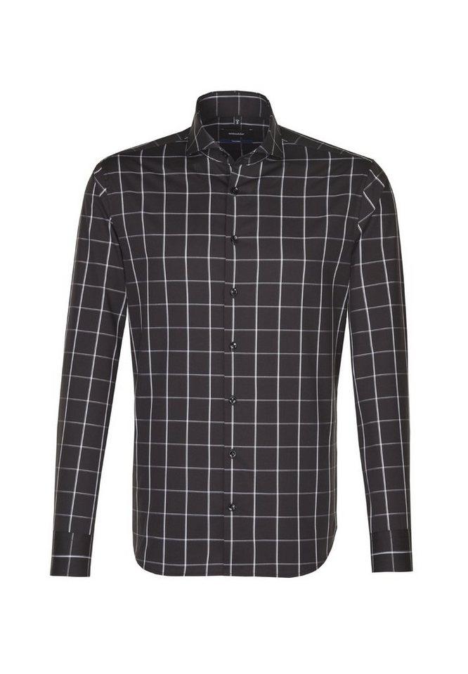 Herren seidensticker  Businesshemd Tailored Tailored Langarm Hai-Kragen Karo schwarz | 04048869397004