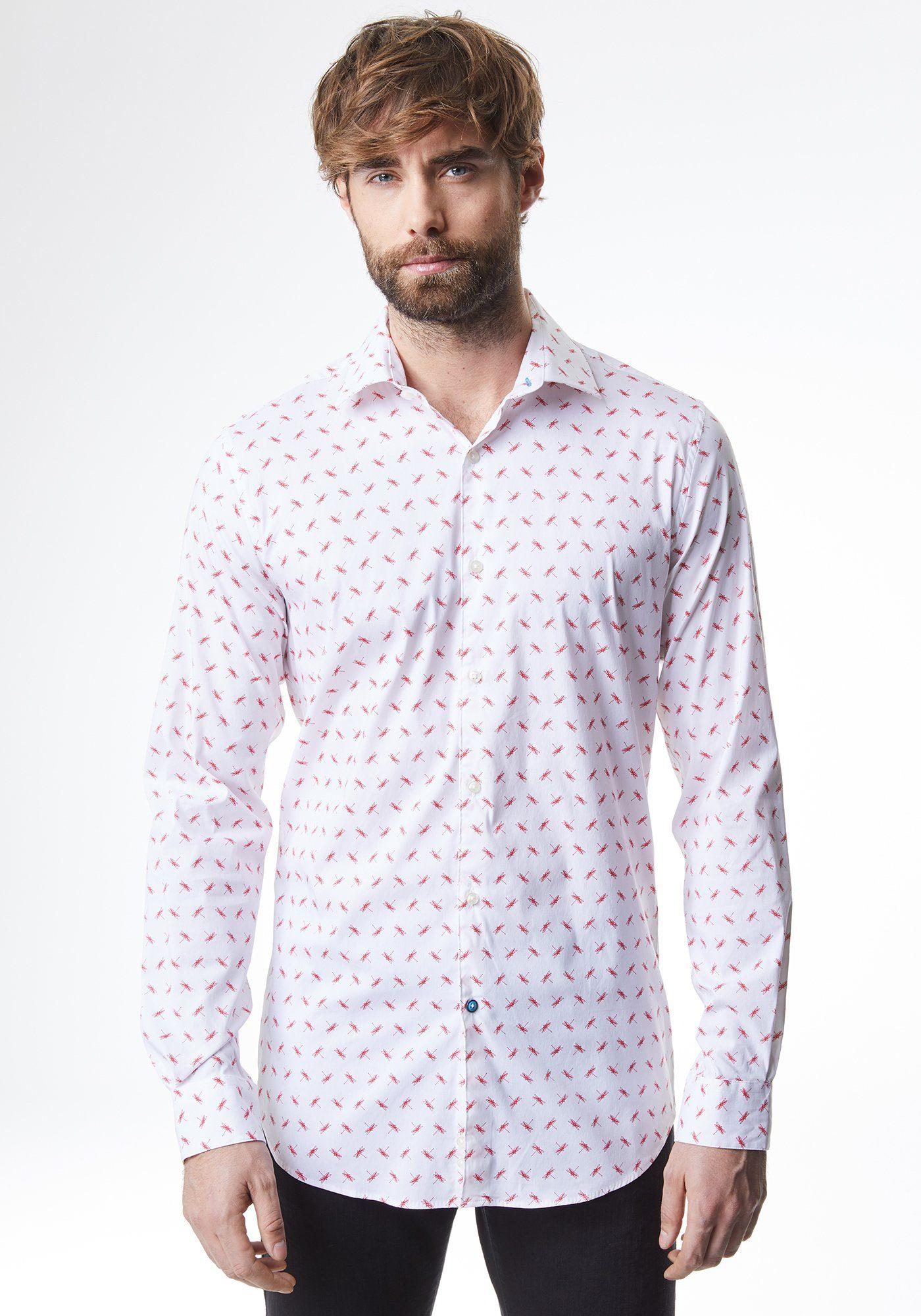 PIERRE CARDIN Hemd mit Libellen-Print - Shaped Fit »Futureflex«