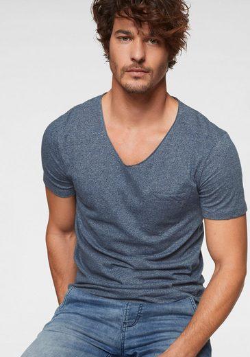TOM TAILOR Denim V-Shirt in melange Optik