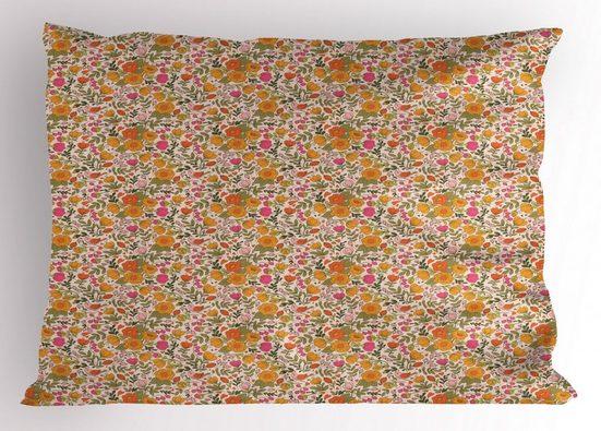 Abakuhaus Kissenbezug »Dekorativer Standard King Size Gedruckter Kissenbezug,«, Blumen Frühlings-Thema Blumen Vögel