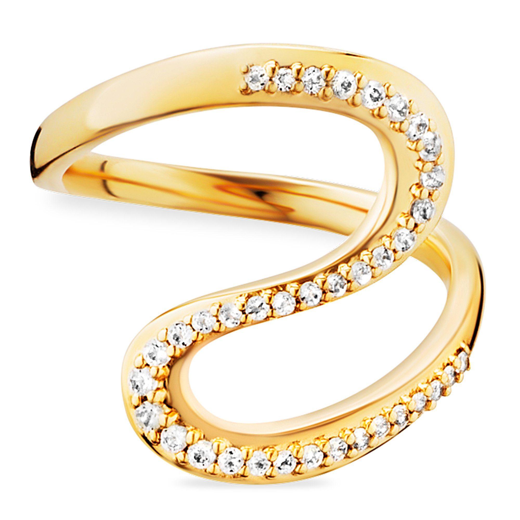 Cai Ring »925/- Sterling Silber gelb vergoldet Topas«