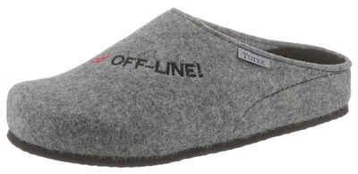"""Tofee Pantoffel mit Schriftzug """"#Off-Line!"""""""