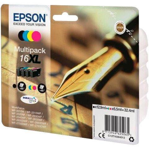 Epson »T1636, 16XL Original Kombi-Pack Schwarz, Cyan, Magenta, Gelb C13T16364012« Tintenpatrone