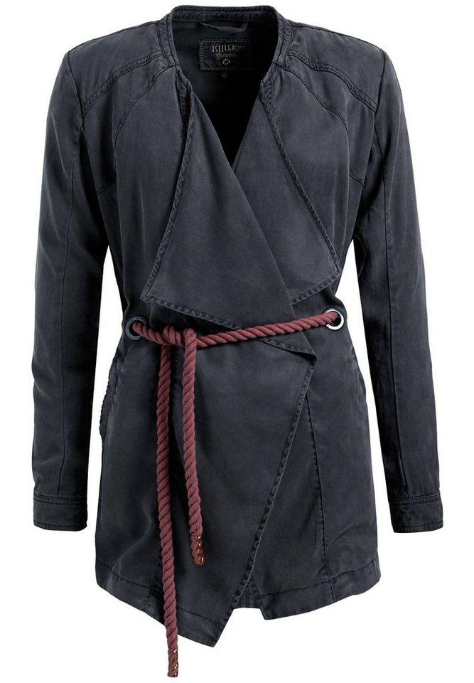 khujo Langjacke »NASHIRA WITH ROPE« mit Wasserfallkragen | Bekleidung > Jacken > Langjacken | Grau | khujo