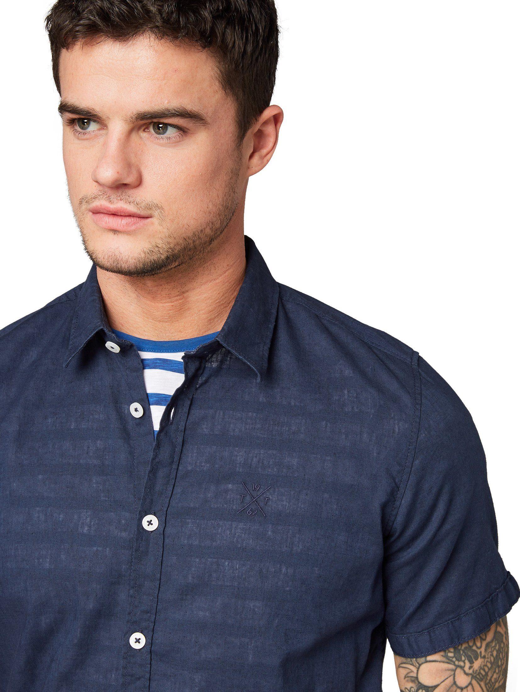 Leinengemisch« Kurzarmhemd Tailor Tom Aus »hemd w7Yq0I