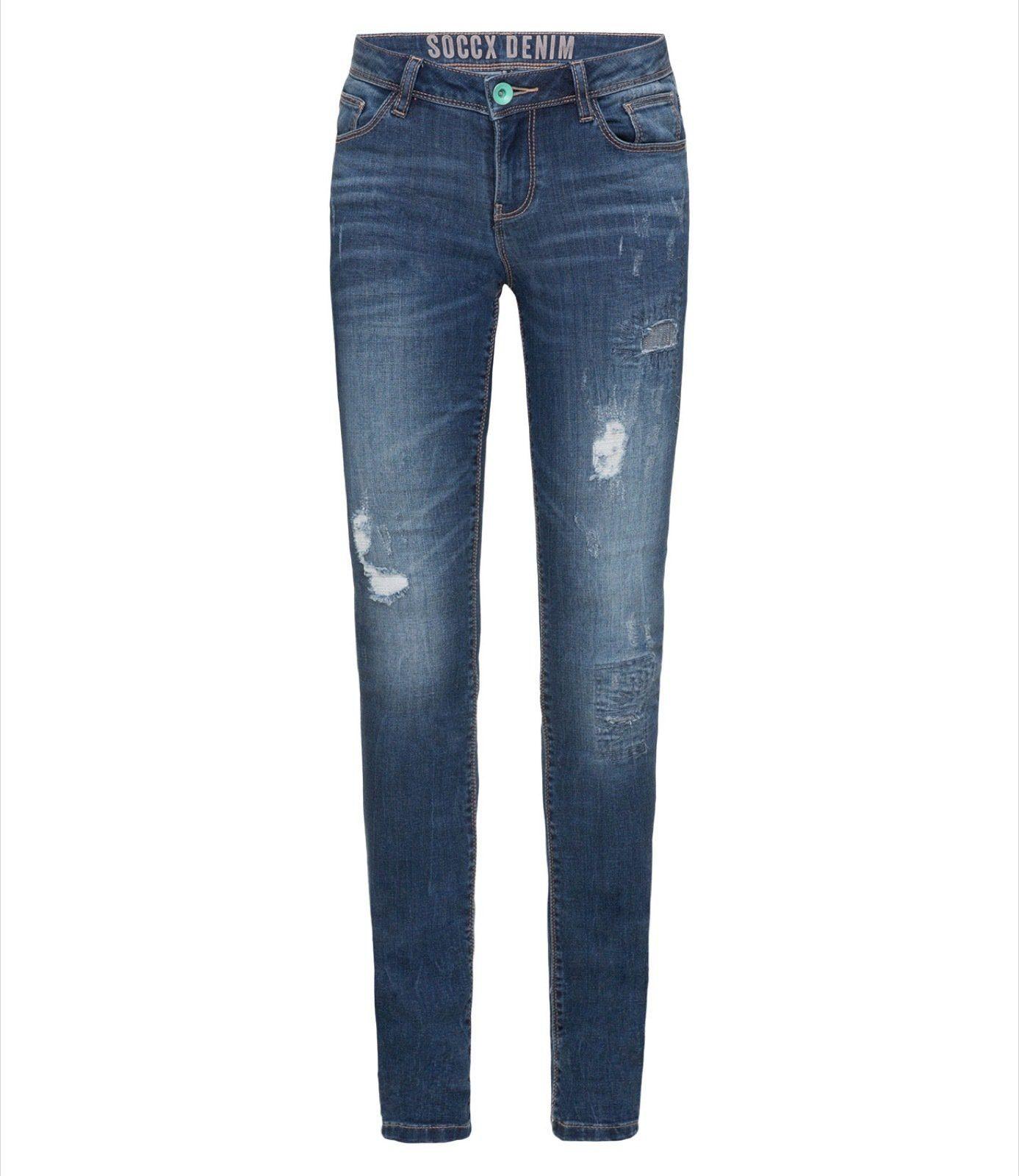 SOCCX Slim-fit-Jeans mit Destroyed-Effekte