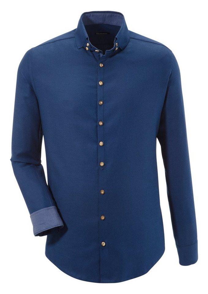 OS-Trachten Trachtenhemd Herren mit Struktureffekt | Bekleidung > Hemden > Trachtenhemden | Blau | OS-Trachten