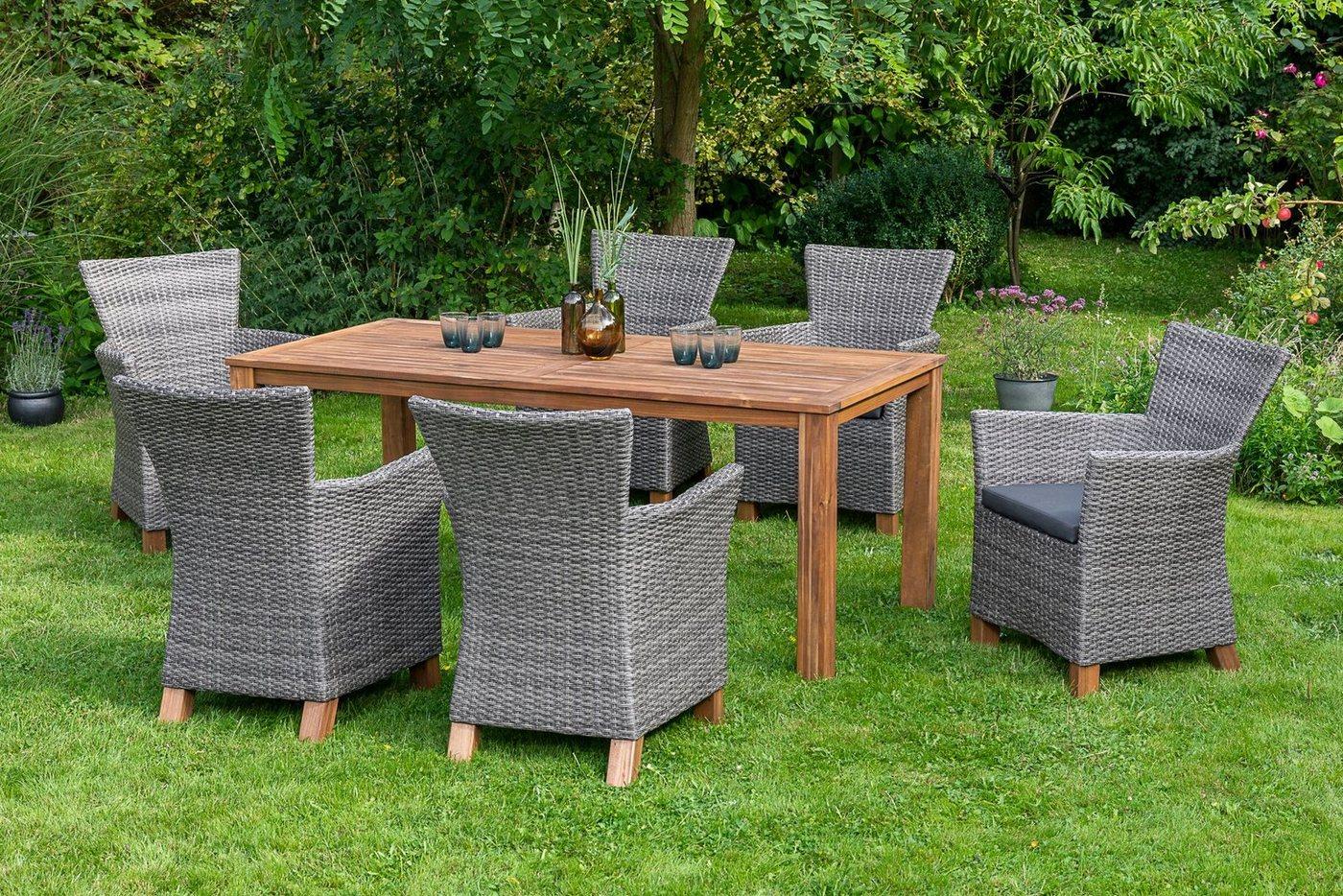 MERXX Diningset »Toskana«, 13-tlg., 6 Sessel, 1 Tisch 185x90 cm, Aluminium, Akazienholz
